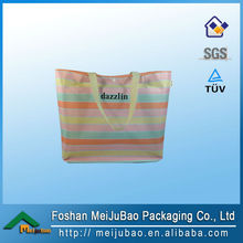 2014 new products stripe canvas beach tote bag wholesale