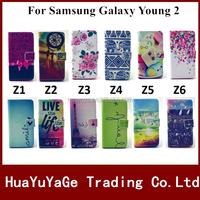 Colorful Pattern Wallet Stand Leather phone cases cover for Samsung Galaxy Young 2 G130