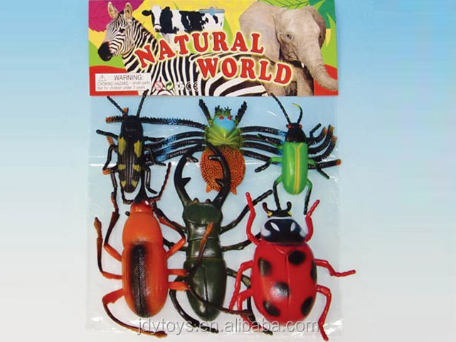 Hot sale novelty 6pcs plastic small insect toy set,plastic insect toy animal world,plastc insect toy