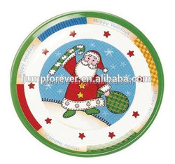 round christmas decorative plastic tray,custom printed plastic plate/dish
