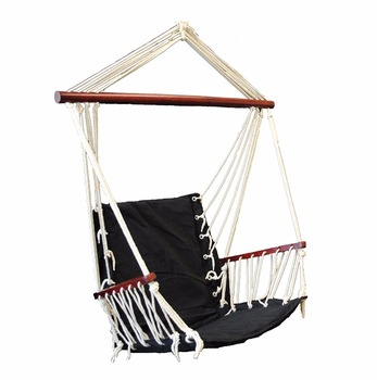 Outdoor Cotton Padded Hammock Swing with Wood Armrest - Black