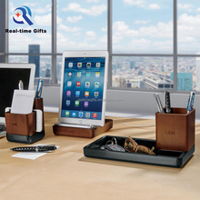High Quality Practical Business Office Organizer 3 Pieces Wooden Desk Set