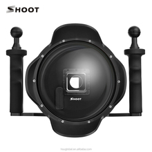 2017 Summer 3.0 Pro Vision 6 Inch Diving G oPro 4 3+ Black Dome Port With Extra LCD Waterproof Housing Case