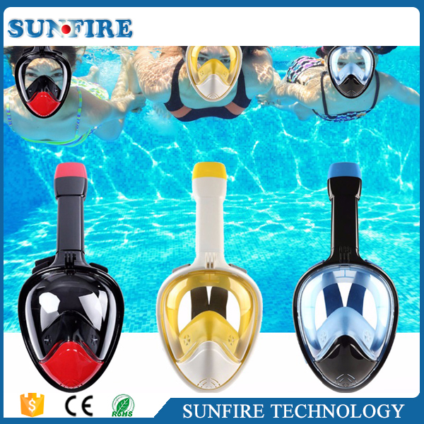 2017 Hot selling anti-fog 180 full face snorkel mask for adult and kid