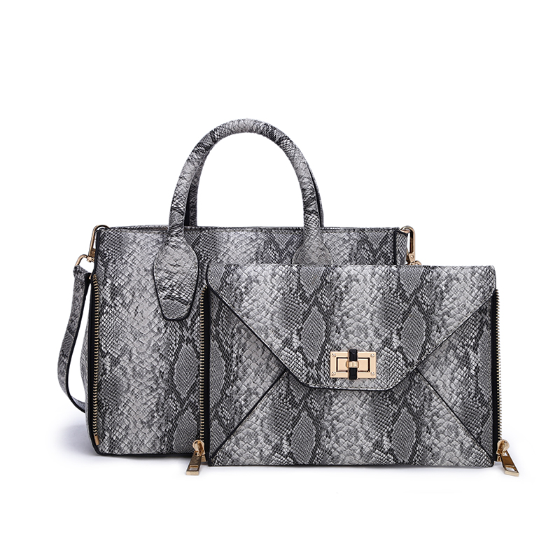 Detachable front pocket snake pu leather women handbags set