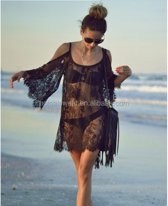 Sexy See-through Floral Lace Sarong Swimwear With Bell Sleeve PW-SYSJ-A698