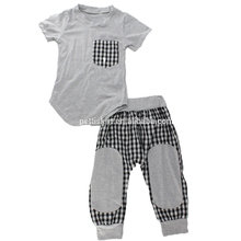 2017 fashion popular cool design for baby boy clothing set top and pants 100%organic cotton