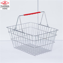 Store used metal carry shopping basket chrome basket