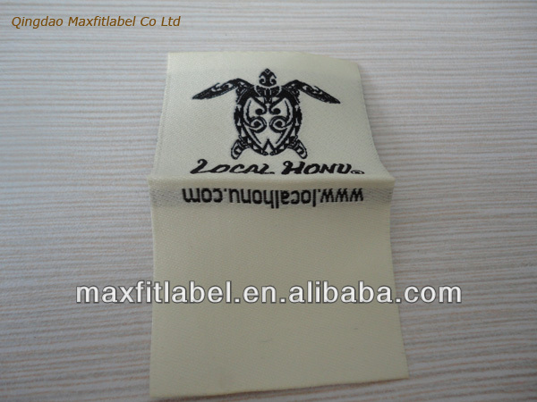 Custom China soft satin woven label damask garment label stain printed label