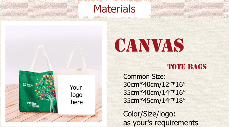 100% natural printed canvas cotton or non-woven material tote bag for shopping