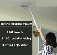 Telescopic foldable rotatable kill insects electric mosquito swatter