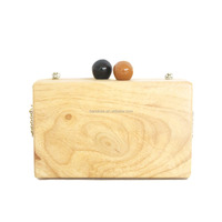 Hot New product wholesale clear wood grain wooden clutch