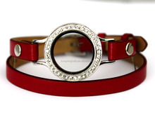 Fashion Stainless Steel Jewelry Diamond Glass Watches Locket Design Strap Genuine Leather Bracelets