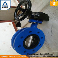 TKFM flex wafer flanged butterfly valve gear operated