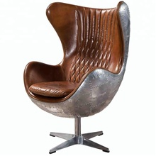 Aviation Aero Metal Spitfire Swivel Aluminium Leather Egg Chair