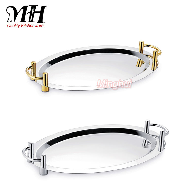 Mirror Serving Tray Oval Dinner Plates for weddings with Silver Gold Ears