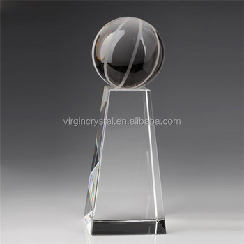 Wholesale customized design blank clear Crystal basketball Trophies Awards for souvenir gift