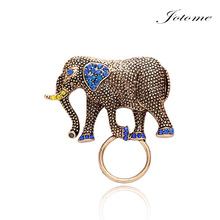 Natural Elephant Magnetic Eyeglass Holder Crystal Brooches for Shirt