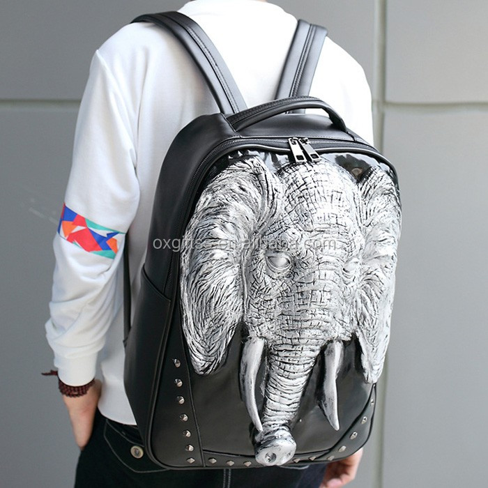 OXGIFT China Supplier Wholesale Manufacturing Factory Price Amazon waterproof cartoon animal 3D Shoulder Elephant pu backpack