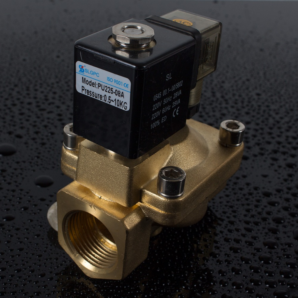 Chinese wholesale low price low pressure brass 2 way 2 port electric water latching solenoid valve flow control PU225-08A