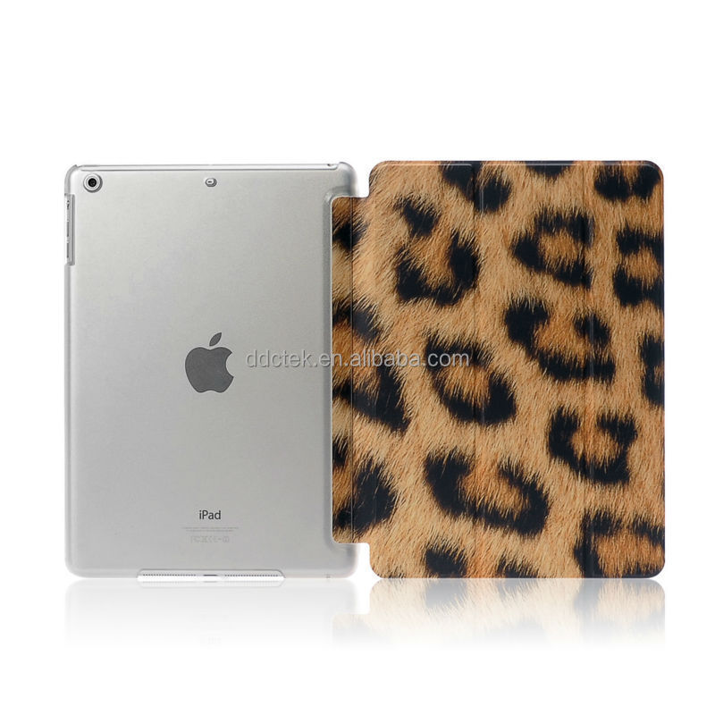 New arrival Leopard image whole cover for ipad air 2 PU leather printing case