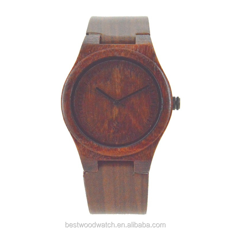 Wooden Case And Genuine Leather Strape Quartz Wood Watch Made Of Wood