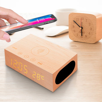 Multifunction Qi Wireless Charger with Clock and Speaker