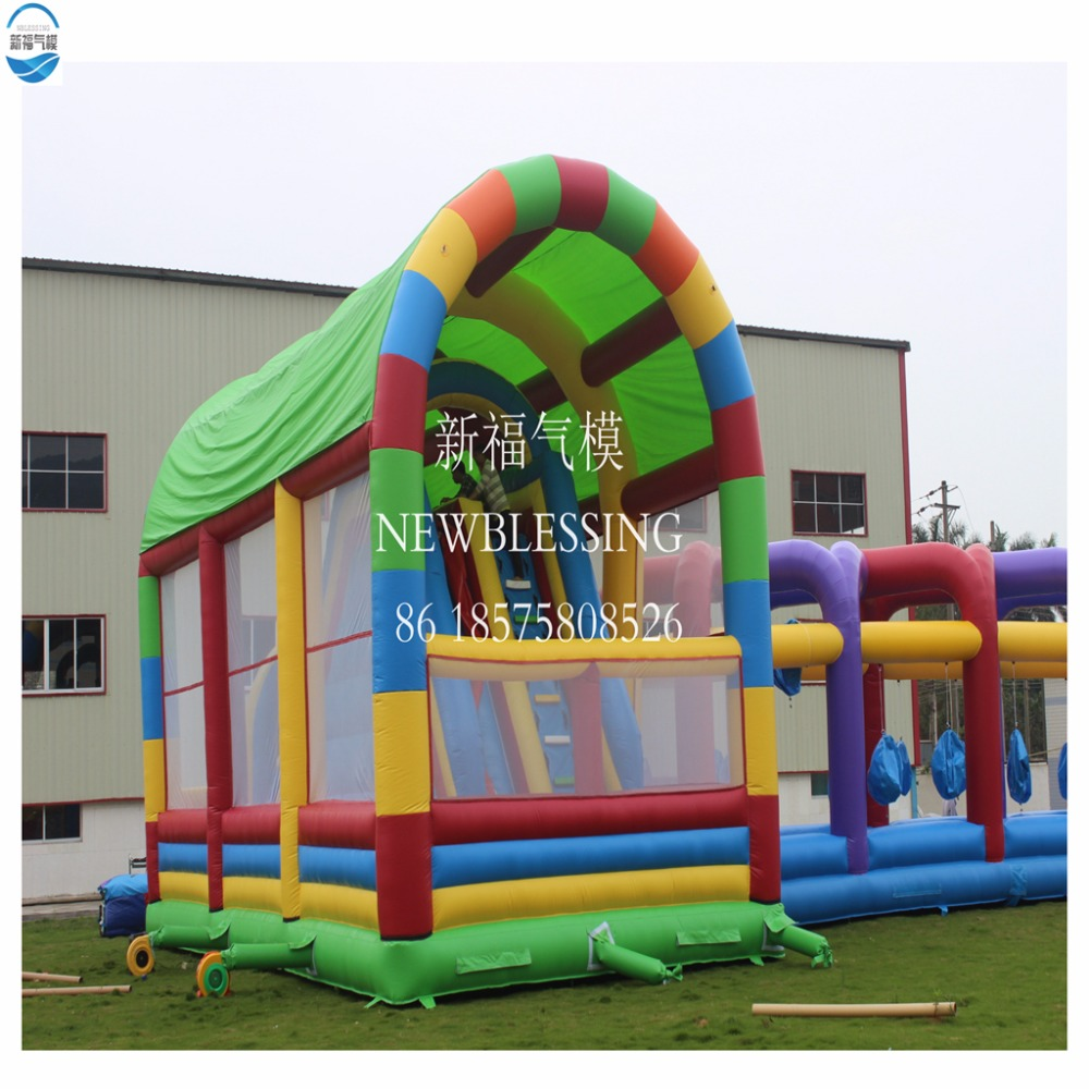 Factory Customized Fun Sport Inflatable PVC Tarpaulin Interactive Challenge Obstacle Course Jungle Climb Bounce Slide for Kids