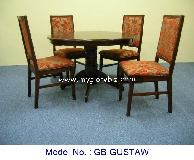 High Class Look 1+4 Wooden Dining Set Of Round Table And Orange Maple Leaf Fabric Design Chairs For Home Made In Malaysia