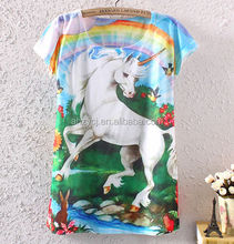 China supplier western horse design digital print short sleeve fashion women Korea t shirt