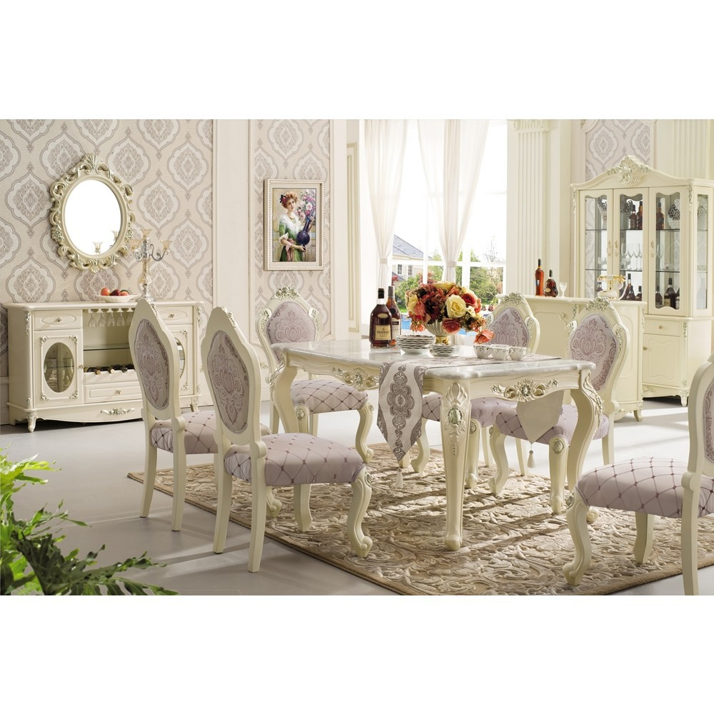 Rectangle pedestal classic italian dining room sets marble for Italian dining room sets