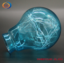 Chrome Hand-made color blown glass,pained blue glass lamp shade and cover