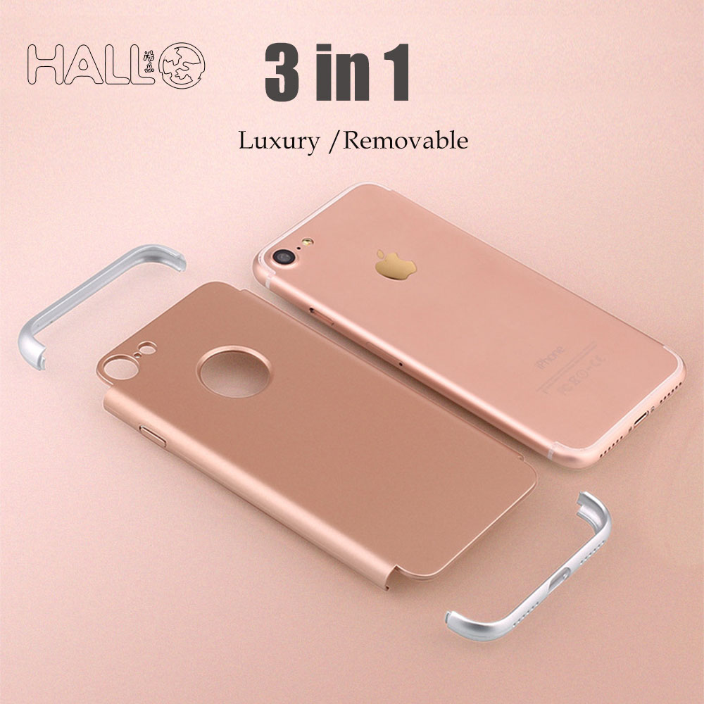 luxury removable 3 in 1 hard plastic pc glossy back Cover with original Logo circle for iPhone7/7plus