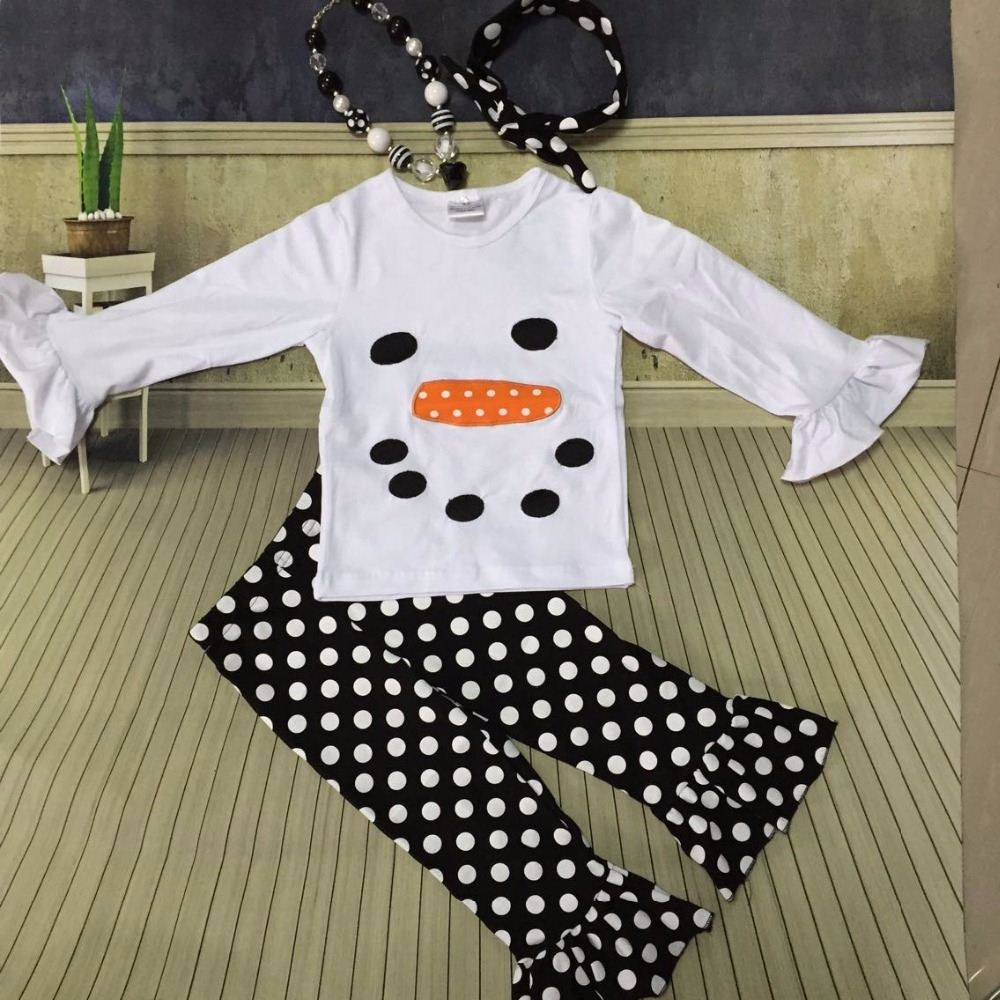 Christmas suit Winter outfit girls colthes baby snowman X-mas clothes black/white dot pant with necklace and headband set