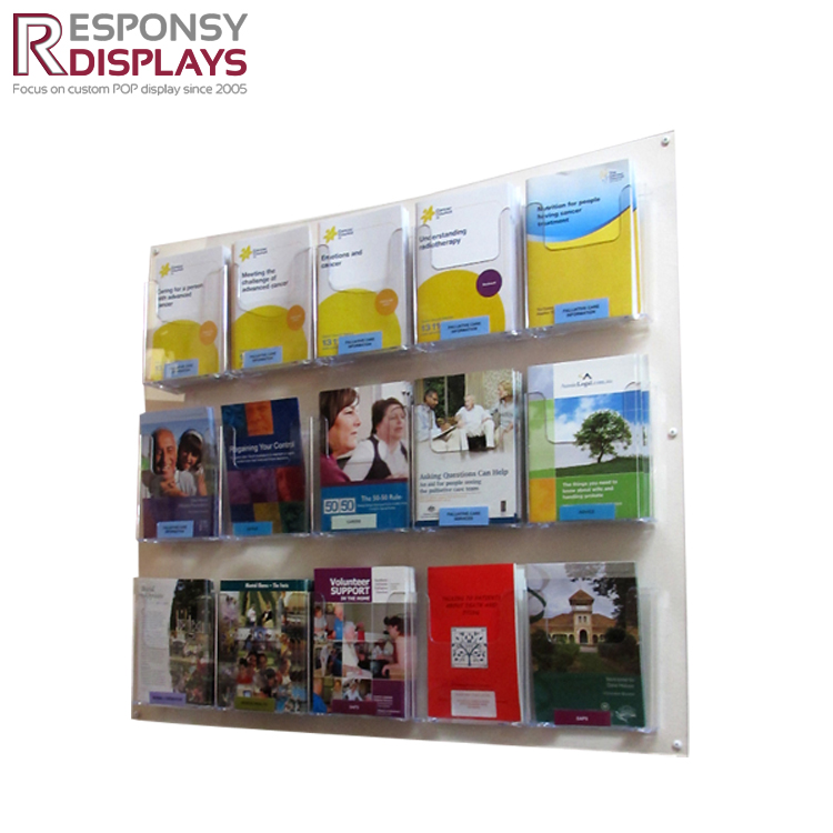 wall-hanging brochure acrylic pamphlet roster display rack