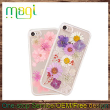 DIY Fresh Flower Phone Case for iphone 7 , Dry Flower Drop Rubber Back Cover Case for iphone 7 plus