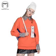 2018 Women Long Sleeve Oversized orange Hoodies Sweatshirt Holes Hollow Out Pullover Fleece Sudaderas