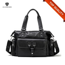 Mens Black Genuine Leather Simple Short Travelling Weekend Bag