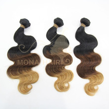 New Arrival Beautiful Body Wave Brazilian Ombre Hair Weaves 3 Tone Color Ombre hair
