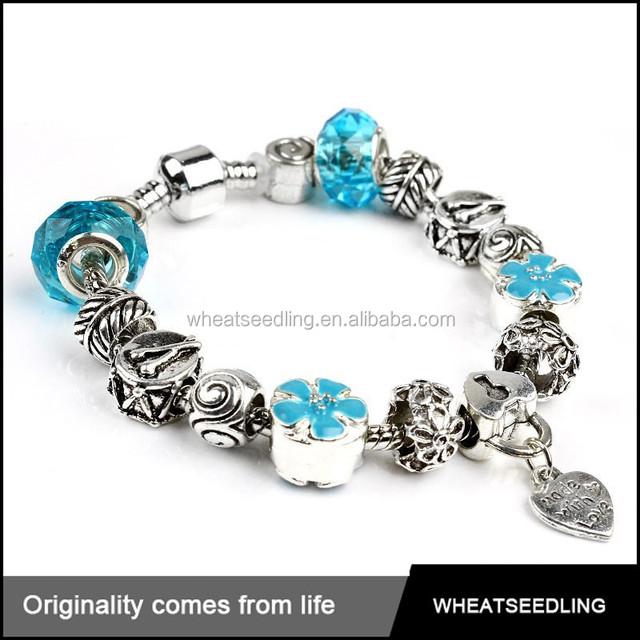 2015 wholesale fashion design charm jewelry crystal bulk latest metal plastic bead bracelet