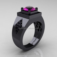 Wholesale black gay men ring the black diamond ring for wedding