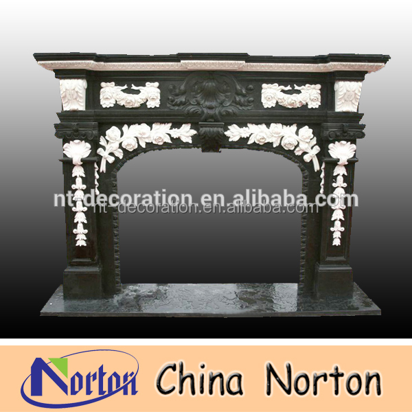 french style black granite fireplace mantle and hearth NTMF-F031Y