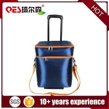 Wholesale insulated rolling picnic beach pool wine food drink package fashion 4 wheels wholesale trolley tote cooler bag