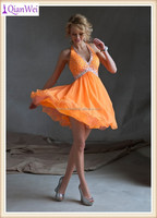 2015 new sexy halter heavy beaded V neckline orange short sample cocktail dresses pictures