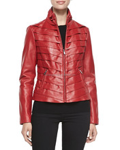 Womens Tiered Leather Jacket, red leather jacket for women