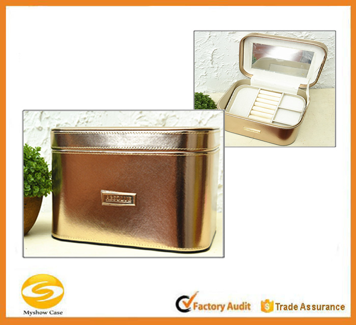 High quality unique shiny pu leather cosmetic case bag,fashionable hard case cosmetic makeup case,leather makeup train case