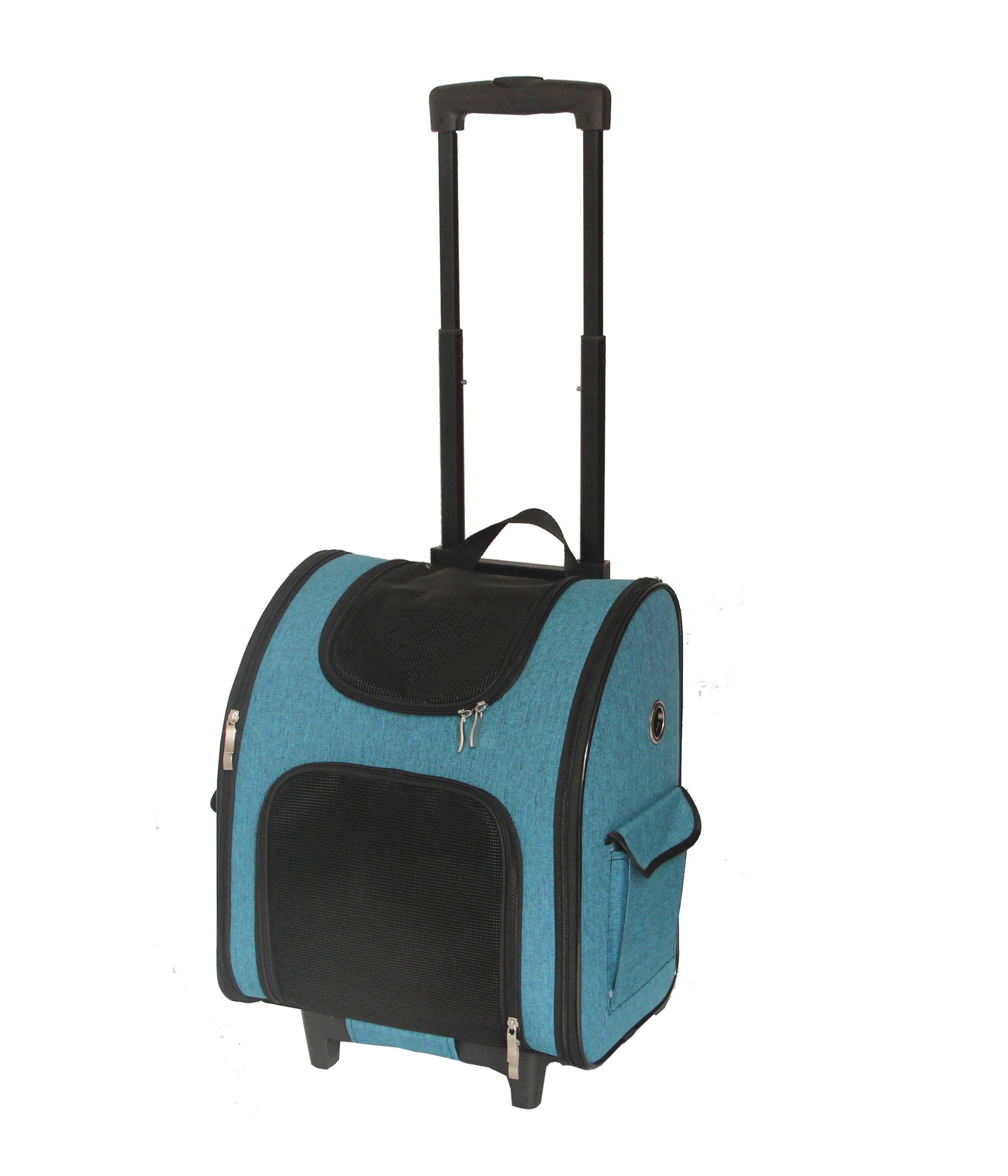 Foldable Pet Backpack Carrier with wheels, pet carrier with Trolley