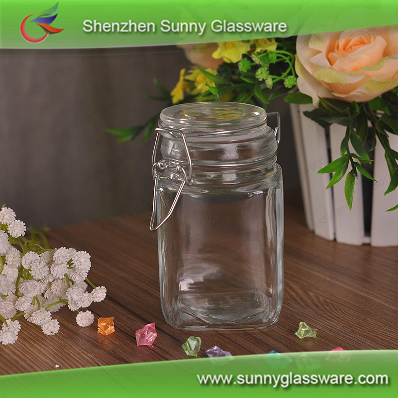 Eco round storage glass jar with glass metal lid screw top