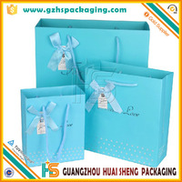 Light Blue Art Paper Gift Bags With Cotton Handle