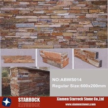 Landscaping decorative wall tiles black rusty culture slate stacked stone panel